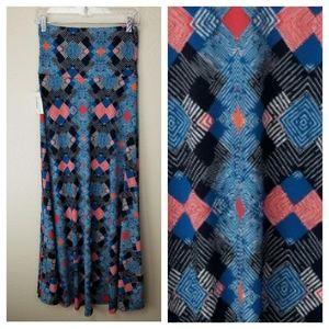 LuLaRoe Blue Black Red Geometric Maxi Skirt XS